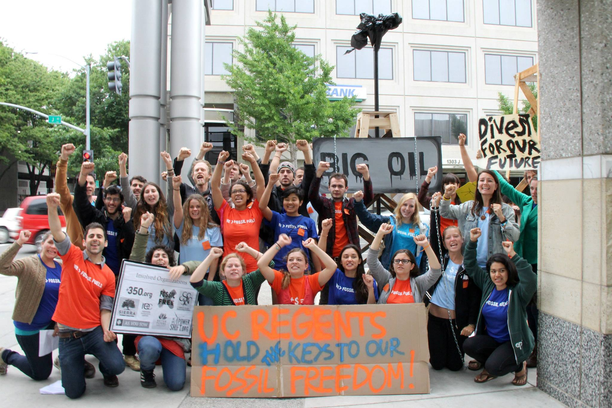 Students from across California participate in a direct action and testify before the UC regents at their May meeting in Sacramento about the importance of divesting from fossil fuels and investing in a sustainable future. Photo Credit: Mauricio Castillo