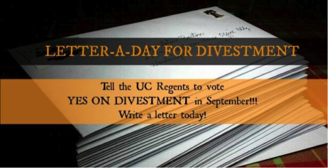 The Fossil Free UC Letter-A-Day Campaign has kicked off!